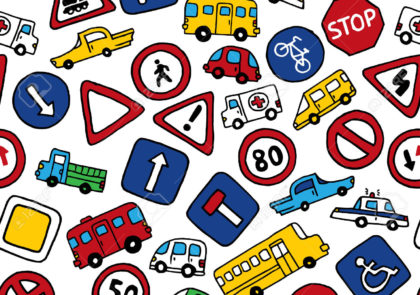 40351357-Seamless-pattern-of-doodles-road-signs-and-cars-Vector-bright--Stock-Photo
